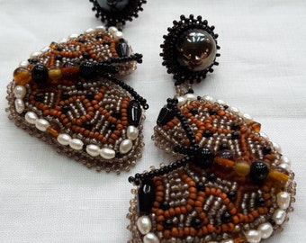 "Earrings post dangle bead embroidery beaded ""brown butterflies"" pearls black onyx glass beads glass cabochons"