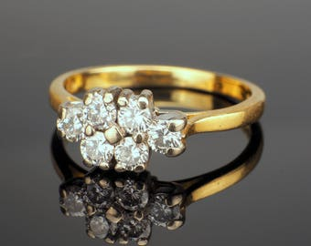 Vintage 18k Diamond Engagement Ring, Almost Half a Carat in Total
