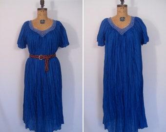 1970s cobalt flutter sleeve caftan • 70s blue crochet trim gauze hippie dress • vintage short sleeve semi sheer summer dress