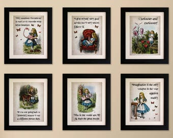 Set of 6 Alice in Wonderland Vintage Style Quote Prints, Shabby Chic, Wall Art Print, Fab Picture Gift