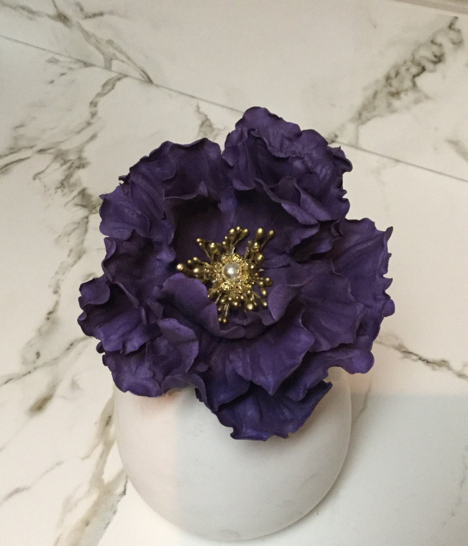 Edible Sugar Wedding Purple Peony Flower Cake Topper