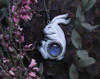 White Hare With Blue Cabochon Necklace, Polymer Clay Bunny Jewelry, Mystic Hare Charm