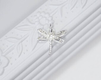 Sterling Silver Dragonfly Charm, dainty dragonfly charm, tiny dragonfly pendant, jewelry supplies, jewellery, wholesale, canada filigree