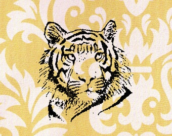 Tiger Head Stamp: Wood Mounted Rubber Stamp