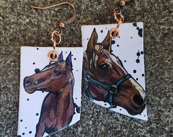 Regal Horse - hand-painted earrings - in white and brown