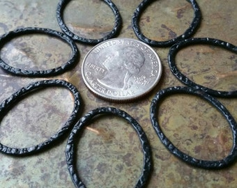 Handmade hammered marquise blackened silver findings 30mm, 10pcs #1955