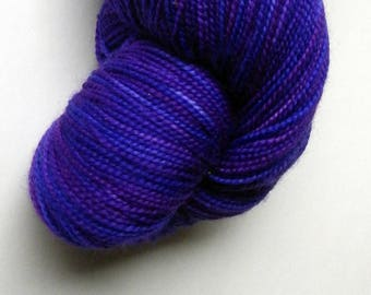 Hand dyed purple blue 100% merino superwash sock yarn