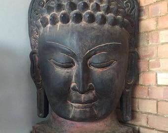 16kg (1 M) Vintage Hand Crafted Buddha Mask Wall Hanging Nepalese Buddhist Yoga Art ॐ