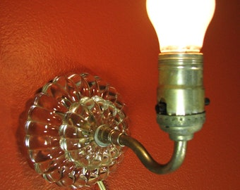 Vintage Clear Glass Wall Light Sconce Lamp