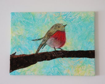 Textile art canvas/handpainted bird/ fabric painted/ art quilt/textile art/fiber art/Custom patchwork style home decoration