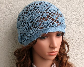 Womens Crochet Summer boho light blue hat slouchy hat Summer beret hat 100% Linen tams hat Women's Summer hat Women's Slouchy Tam Hat