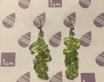 Handmade Olivine Chip Earrings