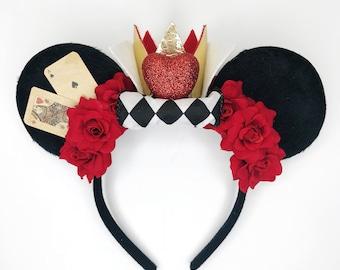 Queen of Hearts Minnie Ears/ Alice in Wonderland Headband