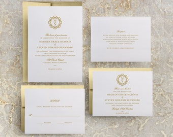 Gold Monogram Wedding Invitation, DIY Wedding Invitation Suite, Gold Wedding Save the Date, Baptism Invitations Printable, Gold Foil