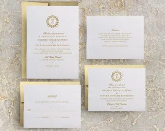 Gold Monogram Wedding Invitation, DIY Wedding Invitation Suite, Gold Wedding Save the Date, Baptism Invitations Printable, Gold Foil