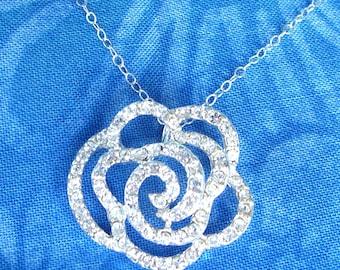 Swarovski Crystal Rose Sterling Silver Necklace, Stunning Necklace, Statement Necklace, Gift