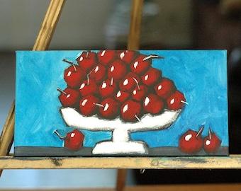 21 Plus 3 - Whimsical Acrylic Painting - Original Art - Kitchen Restaurant Art - Fruit - Cherries - red white blue