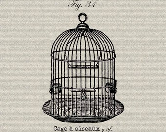 Birdcage Bird Cage French Script French Decor Wall Decor Art Printable Digital Download for Iron on Transfer Fabric Pillows Tea Towel DT1109