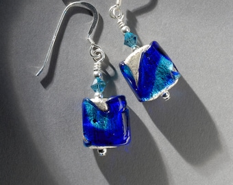 Square Murano glass earrings in cobalt, aqua and silver