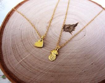 Pineapple necklace. Tiny necklace. Tiny pineapple necklace. Pineapple gift. Gold charm necklace. Dainty gold necklace. Simple gold necklace.