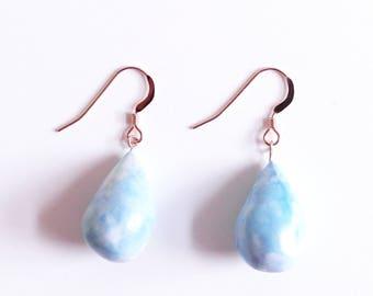 Teardrop Earrings, Ceramic Jewellery, Statement Earrings, Clay Earrings, Geometric Jewelry, Drop Earrings, Gift for Women Rose Gold Earrings