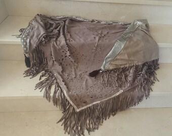 Suede fringed Bohemian shawl scarf