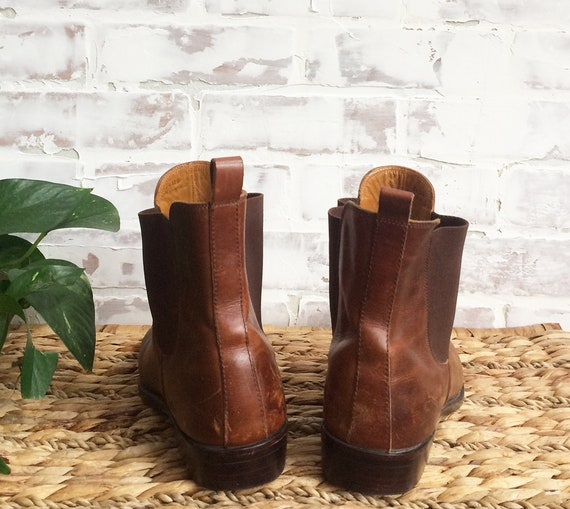 HAAN Slip Brown 5 Cognac Ladies Cowboy Boots Western Shortie Chelsea Booties COLE Size Country Vintage Saddle 9 Leather On 5vqBI1