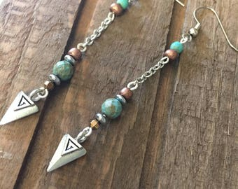 Turquoise and Copper Dangle Earrings, Turquoise Earrings, Silver Earrings, Simple Earrings, Delicate, Triangle Drop Earrings, Lightweight