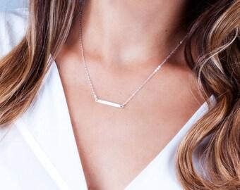 Dainty Bar Necklace, Horizontal Bar Necklace, Small Bar Necklace, Layering Necklace, Minimal Necklace, Bar Pendant, Gold, Silver, Rose Gold