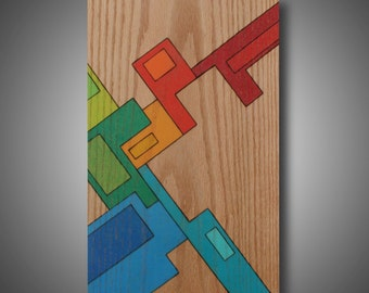"Modern Art - Abstract Design - Woodburned - Colored with Prismacolor Pencils - ""In Other Words"" 11.25"" x 18"""