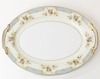 """Noritake China Blue Dawn Serving Platter #4715 Japan 16"""" x 12"""""""