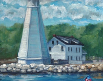 New London lighthouse, original art, oil painting, lighthouse, landscape, coastal art