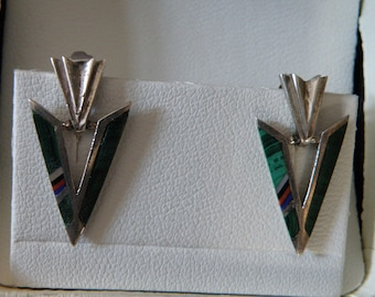 Sterling Silver Inlay Arrowhead Design Earrings
