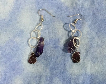 One of a Kind  Original Amethyst and Garnet Earrings