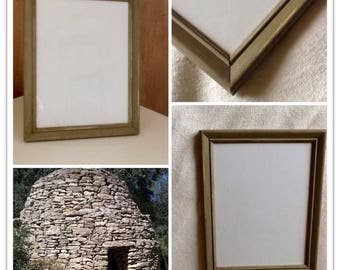 picture frame with glass, patinated in khaki Green