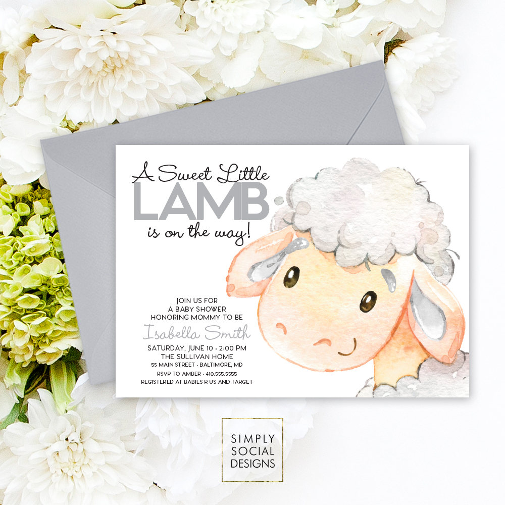Little Lamb Baby Shower Invitation - Gender Neutral Watercolor Sheep ...