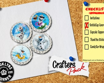 Frozen Inspired - Crafters Pack - Set of 4 Flattened Bottle Caps - For Crafting, Hair Bows, Pendants, Magnets