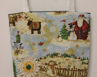 Christmas Tote, Christmas Bookbag, Tote Bag, Bookbag, Bible Bag, Christmas Bible Bag, Christmas Gift, Christmas, Snowman Tote, Santa Tote