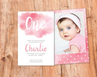 Pink Party Invitation, Girls Party, Girls Birthday, Printable Invites, Party Printables, First Birthday, One, Photo, Watercolour, Simple