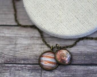 Júpiter y Calisto collar, collar de la Sistema Solar, universo, espacio de la joyería, Sistema Solar, planeta collar, joyería de planeta, galaxia, estrellas