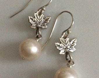 Sterling Silver Maple Leaf and White Pearl Earrings