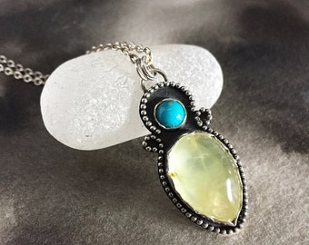 Pale green glowing prehnite and turquoise pendant, spring green and turquoise sterling silver necklace for her, one of a kind art jewelry