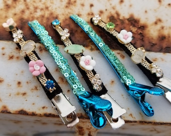 Sequin jeweled hair clip, duckbill clip for updos, hair accessory, use for side parts curls and fingerwaves,