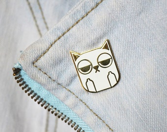 Sass Cat: White | hard enamel pin, white cat pin, cat lovers