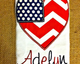 4th of July Red White and Blue Baby Girl Heart Shirt