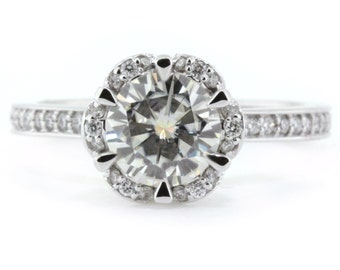 Diamond Floral Style Engagement Ring  Moissanite Center Gold Platinum Palladium  Ring Name Blissful Bloom