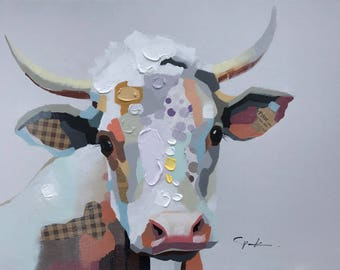 "36""x48"" Patchwork Cow - White Background - Hand Painted Oil on Canvas with other media - Ready for Framing or Hanging"