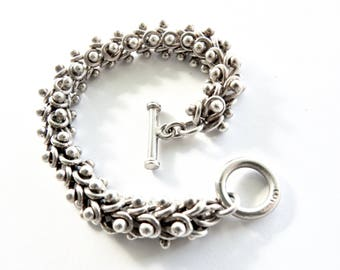 Vintage Mexican Sterling Heavy Toggle Bracelet
