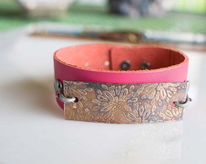 Bronze and Lether bracelet, flower bracelet,bronze etched bracelet, leather bracelet