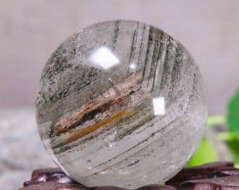 Rare Natural Green And Red Phantom Quartz Sphere/Colorful Chlorite Included Garden Phantom Crystal Ball/Scenic Quartz/Special Gift37mm#1247